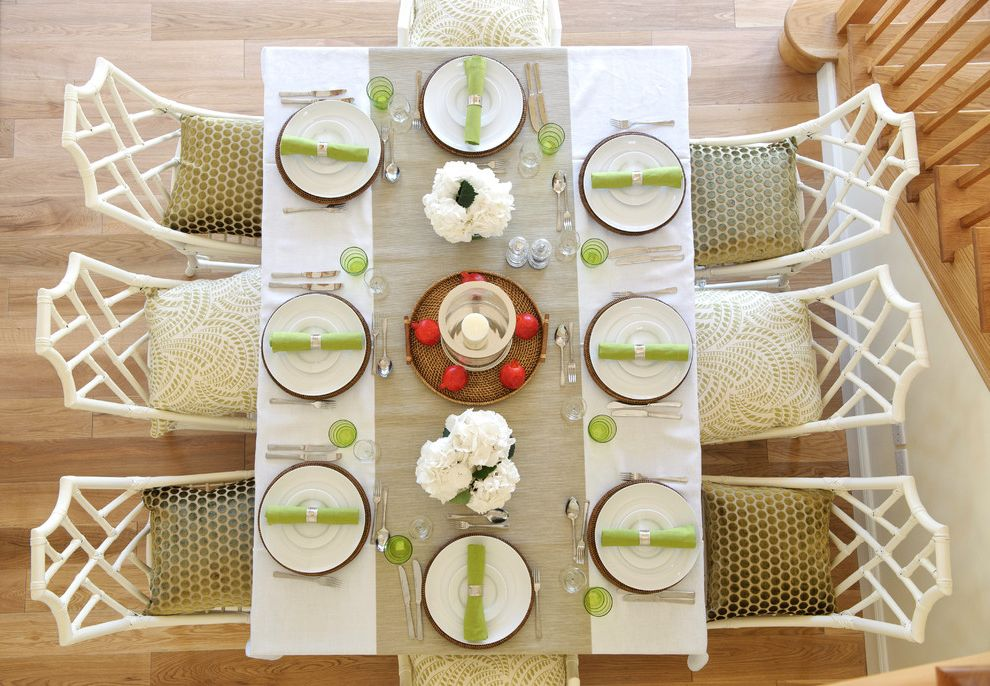 Cheap Patio Table Set   Transitional Dining Room Also Beige Table Runner Chinese Chippendale Chairs Forks Knives Lime Napkins Place Settings Rectangular Dining Table Silverware Spoons Table White Dining Chairs White Flowers White Plates White Tablecloth