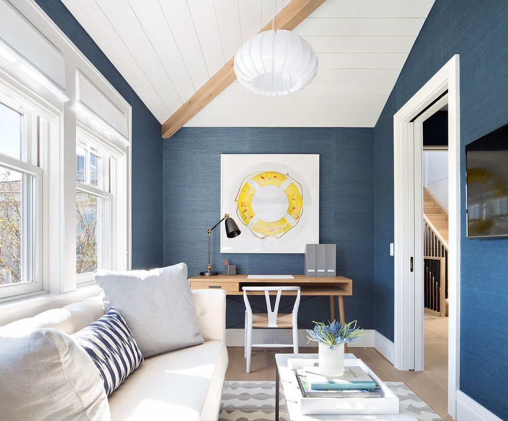 Cheap Small Couches for Small Spaces with Beach Style Home Office  and Beam Blue Walls Grasscloth Living Space Modern Beach House Nantucket Open Concept Shiplap Small Couch Small Desk Small Living Space White Couch Wooden Desk