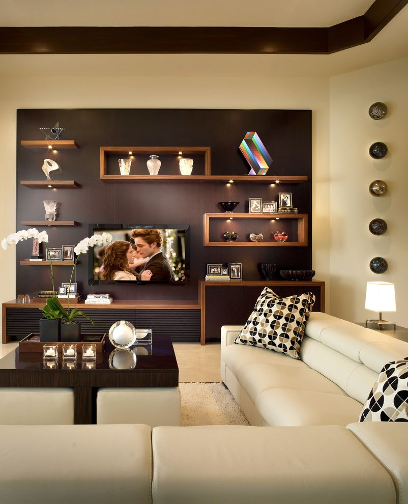 Chem Dry San Antonio with Contemporary Family Room  and Area Rug Built in Cabinets Coffee Table Dark Stained Wood Floating Shelves High Polish Marble Floor Ottomans Seating Area Sectional Tray Ceiling Tv White Leather
