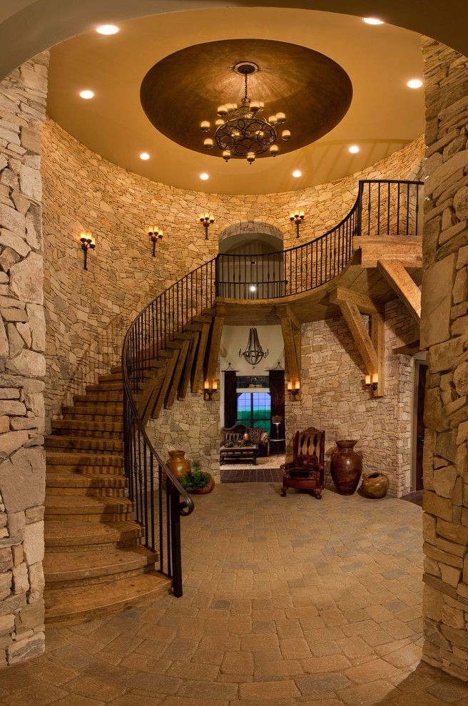 Chem Dry San Antonio with Mediterranean Staircase  and Chandelier Domed Ceiling Floor Pavers Knee Brace Old Wood Interiors Recessed Lighting Stone Walls Wall Sconces