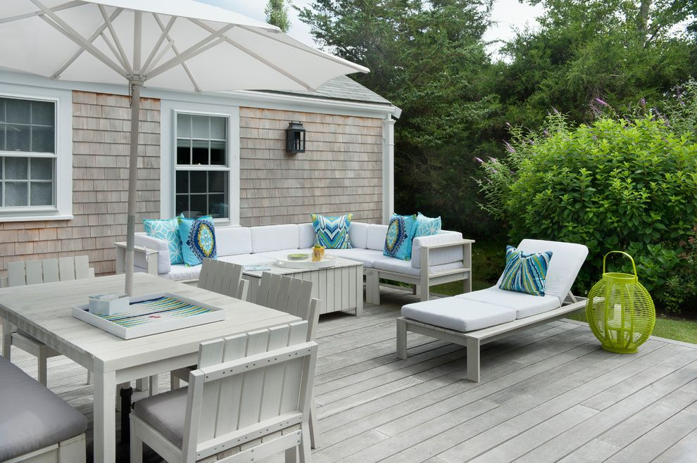 Chic Furniture of Canton   Beach Style Deck Also Blue Pillows Deck Green Floor Lantern Outdoor Dining Outdoor Sectional Patio Umbrella Pool Chaise Shingle Siding Weathered Wood White Casing Wood Slat Furniture