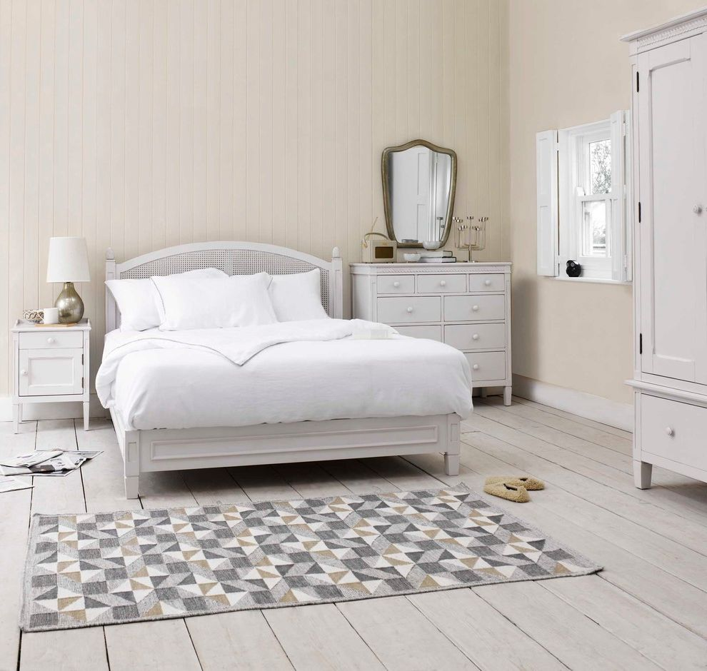 Chic Furniture of Canton   Shabby Chic Style Bedroom Also Bed Bedroom Bedroom Rug Bedside Cabinet Bedside Table Chest of Drawers Geometric Gold Lamp Rug Scandi Scandinavian Shabby Chic Shabby Chic Bedroom White Bed