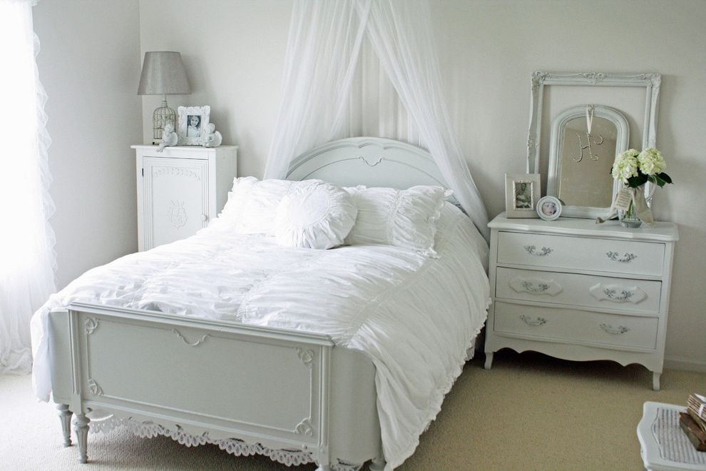 Chic Furniture of Canton   Shabby Chic Style Bedroom  and Bedskirt Canopy Beds Chest of Drawers Dresser Floral Arrangement French Country Hydrangeas Shabby Chic White Bedrooms White Beds White Cabinets White Duvet