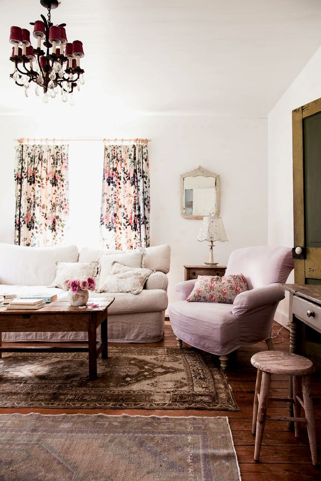 Chic Furniture of Canton   Shabby Chic Style Living Room Also Arm Chair Floral Curtains Shabby Chic Small Mirror White Couch