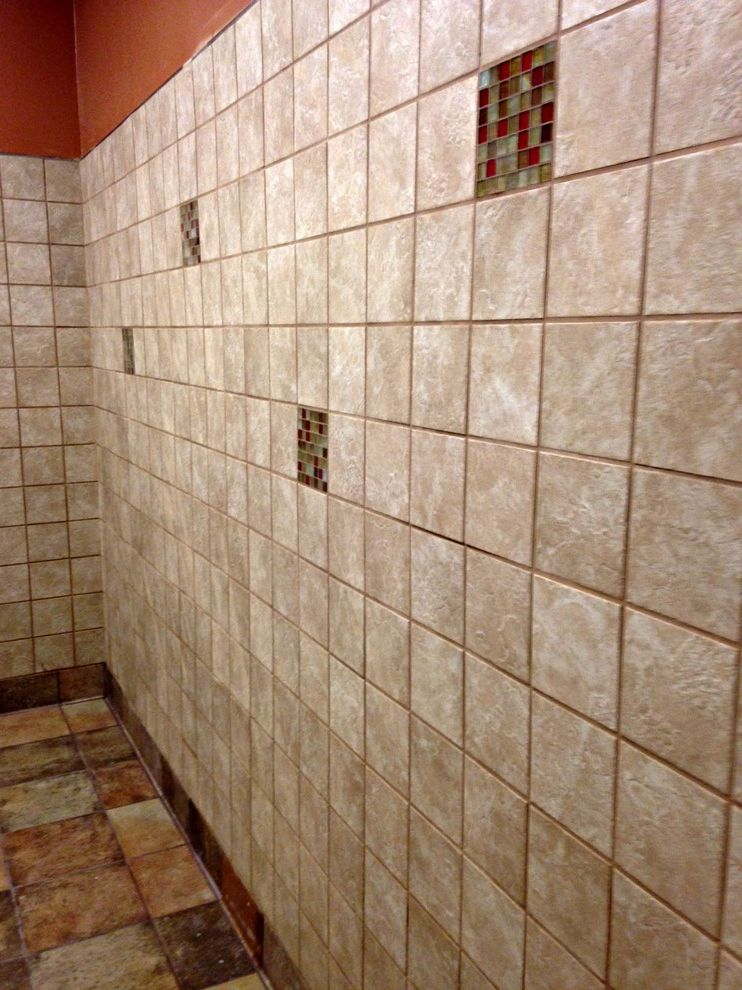 Chick Fil a Sacramento   Traditional Spaces  and Bathroom Wainscot Brown Bathroom Tile Glass Mosaic Tile Accent Glass Tile Accent Wall Tile Walls Bathroom Tiled Bathroom Wall