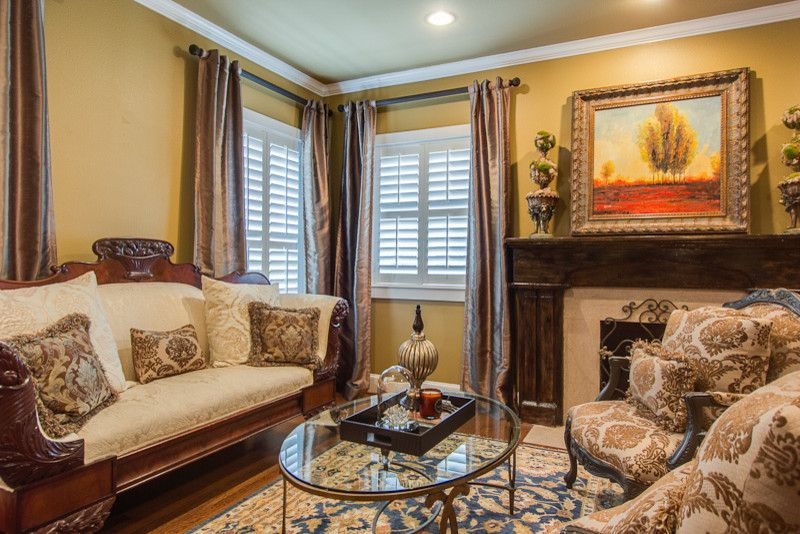 Childress Fabrics with Traditional Living Room  and Chesterfield Sofa Fireplace