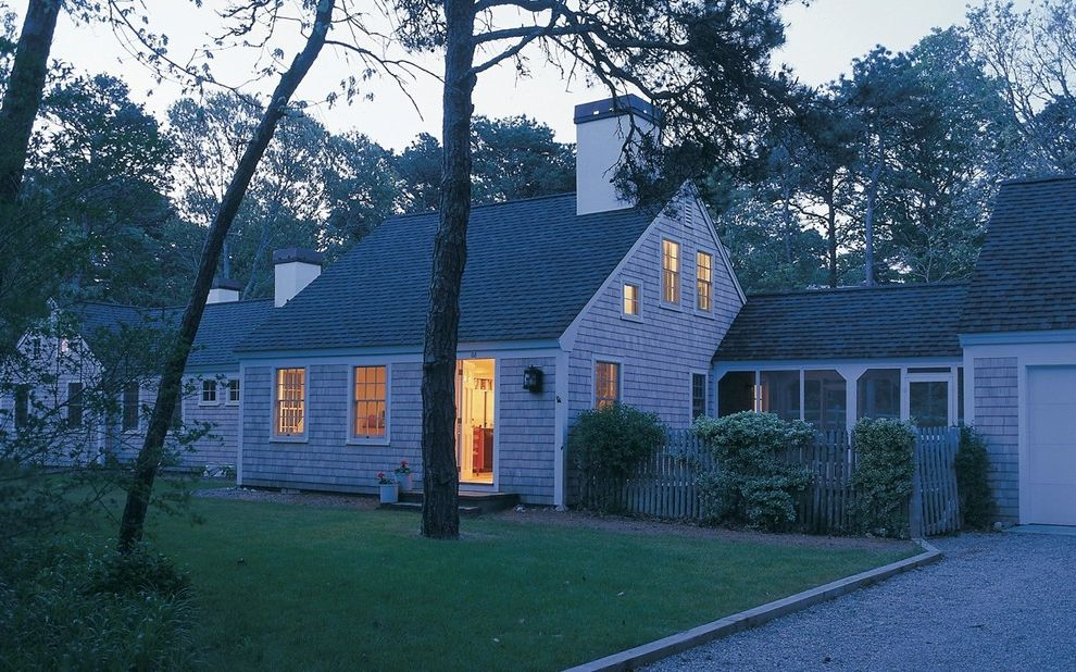 Chimney Sweep Near Me   Traditional Exterior Also Cape Cod Chimney Covered Walkway Fence Gable Roof Gravel Lawn Screened Porch Shingle White Painted Trim