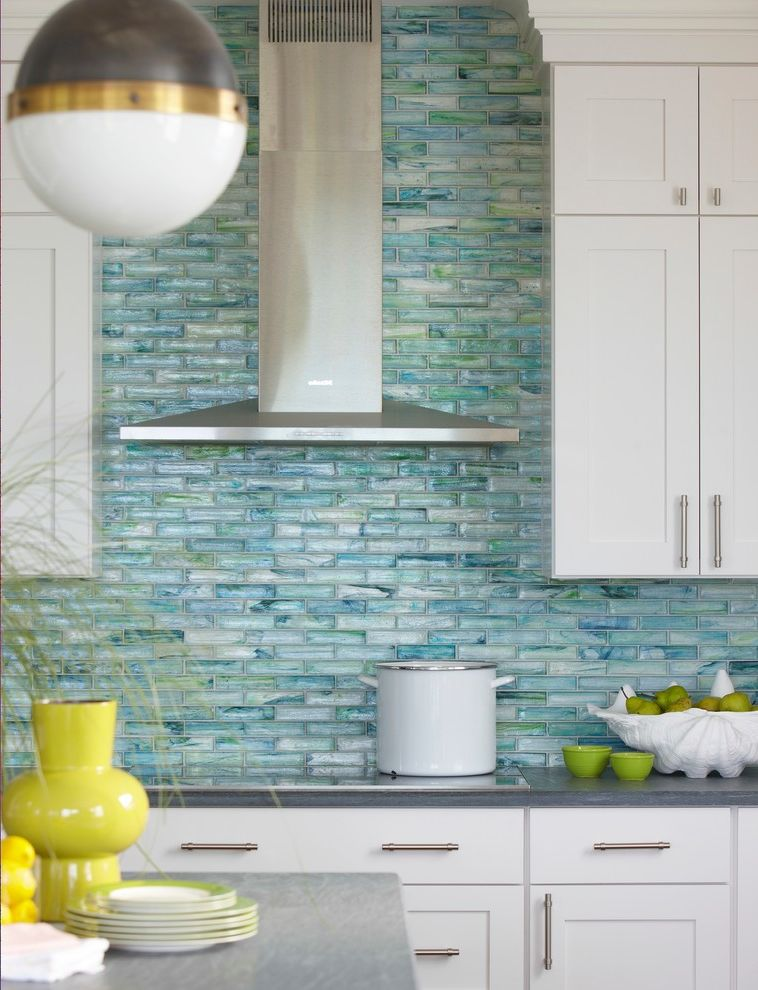 Chimney Sweep Near Me with Beach Style Kitchen Also Back Splash Blue Cabinets Chrome Pull Bars Cooking Counters Dining Fresh Glass Tile Green Hanging Pendant Hood Kitchen Lime Green Plates Stove Turquoise Turquoise Backsplash White Yellow