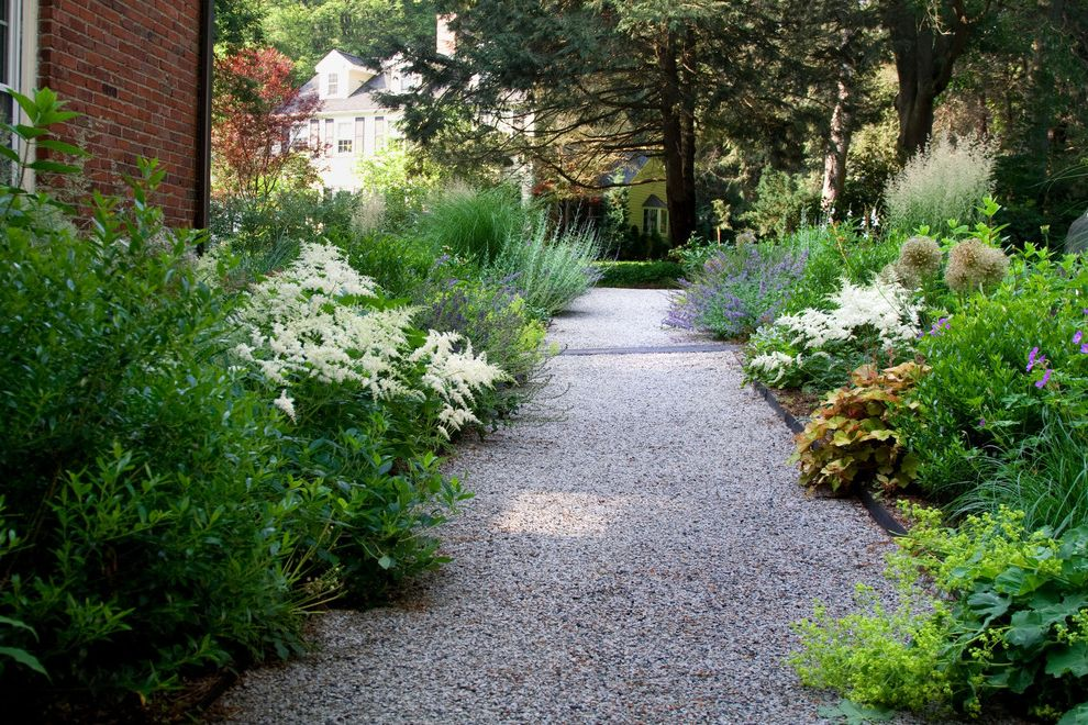 Chip Seal Driveway with Contemporary Landscape and Border Plantings Cottage Cottage Garden Garden Gravel Mass Plantings Naturalistic Path Walkway