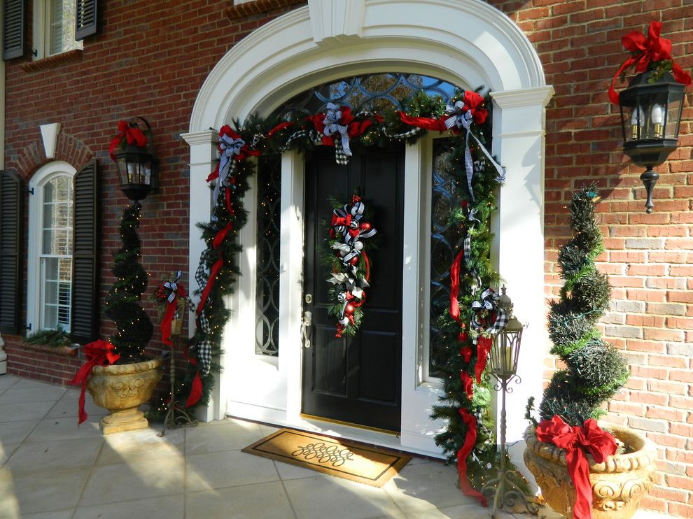 Christmas Light Stakes   Traditional Entry Also Brick Elliptical Transom Window Garland Holiday Decorations Side Lights Transome Window White Trim