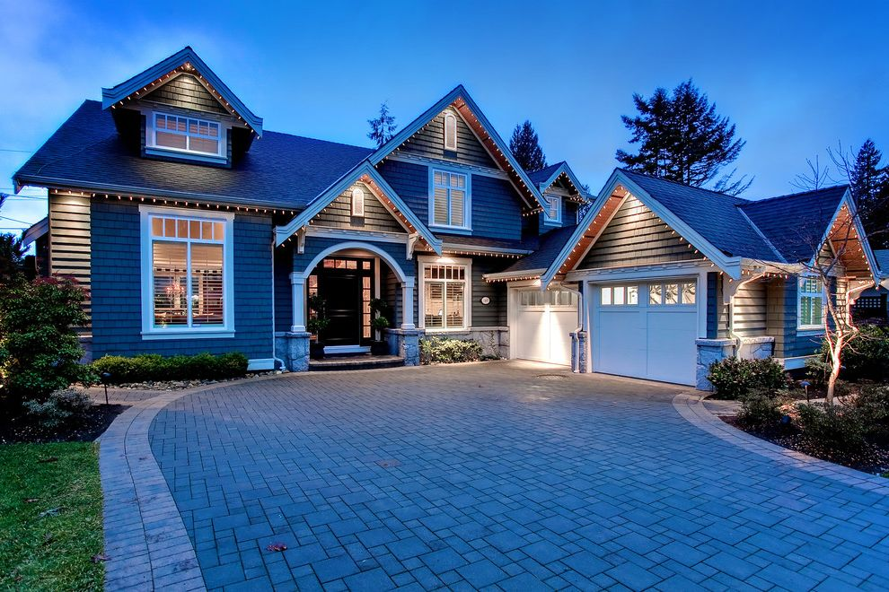 Christmas Light Stakes   Traditional Exterior  and Christmas Lights Covered Entry Dormers Double Garage Driveway Gable Roof Lawn Outdoor Lighting Pavers Shingles Stone White Trim