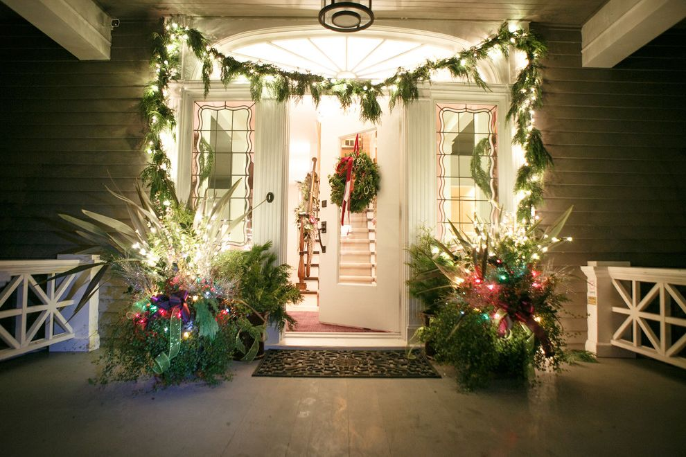 Christmas Light Stakes with Traditional Entry  and Bellevue Christmas Custom Made Decor Decoration Design Festive Front Door Front Porch Garland Holiday Holiday Decorations Lights Northwest Party Potted Plants Seasonal Decorations Seattle Tacoma Wreath