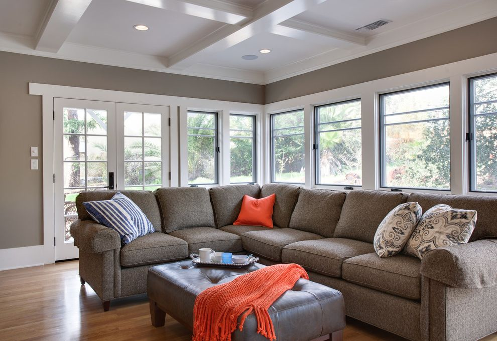 Cindy Crawford Sectional Couch   Craftsman Family Room Also American Craftsman Architecture Arts Crafts Ceiling Box Beam White Craftsman Color Palette L Shaped Couch Neutrals with Pops of Orange Sunny Family Room
