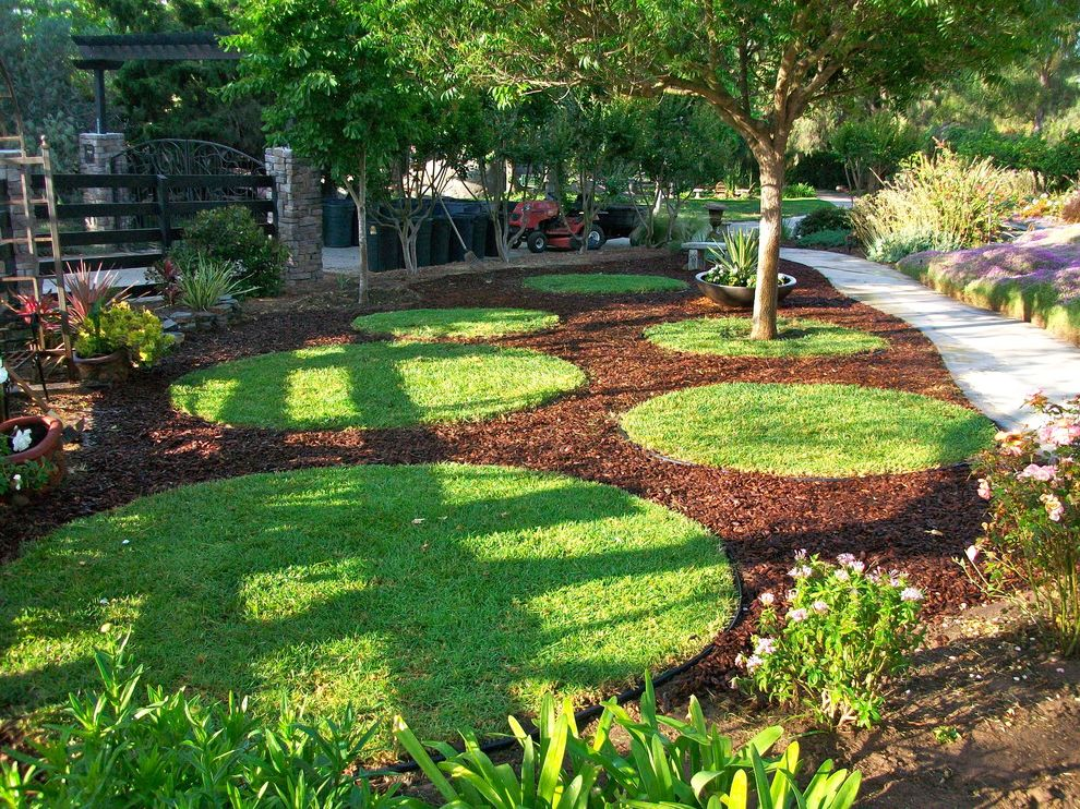 Circle of Life Womens Center   Contemporary Landscape  and Container Plants Garden Grass Grass Circles Lawn Mulch Path Potted Plants Row of Trees Turf Walkway