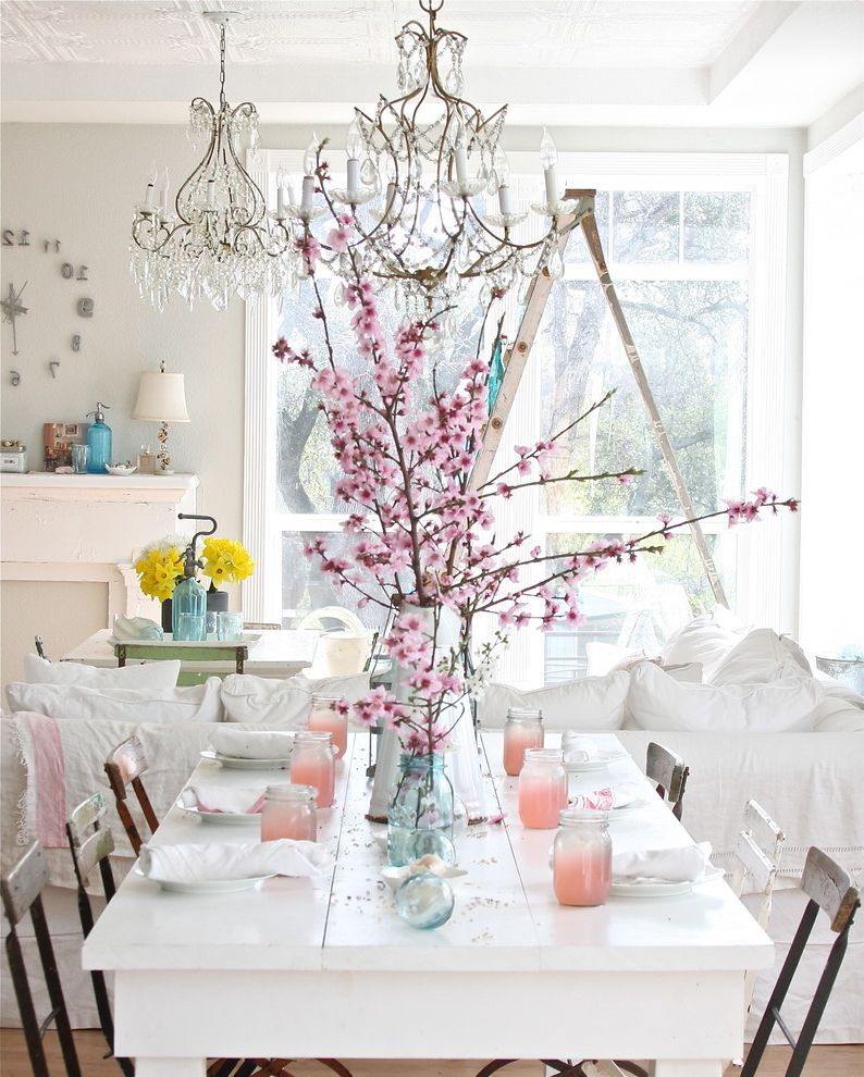 Circle of Life Womens Center   Shabby Chic Style Dining Room Also Bistro Chairs Cherry Blossoms Farm Table Farmhouse Table Place Setting Shabby Chic Table Setting Tablescape White Dining Table Wood Dining Table