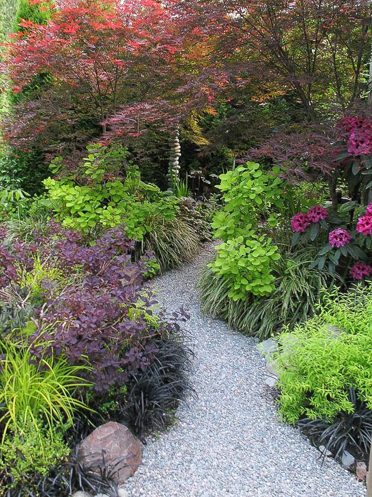 Circle of Life Womens Center   Traditional Landscape  and Acer Palmatum Beni Otake Art Black Mondo Grass Combinations Cotinus Coggygria Foliage Grass Japanese Maple Landscape Path Rhododendron Sculpture Smoke Bush Spiraea Ogon