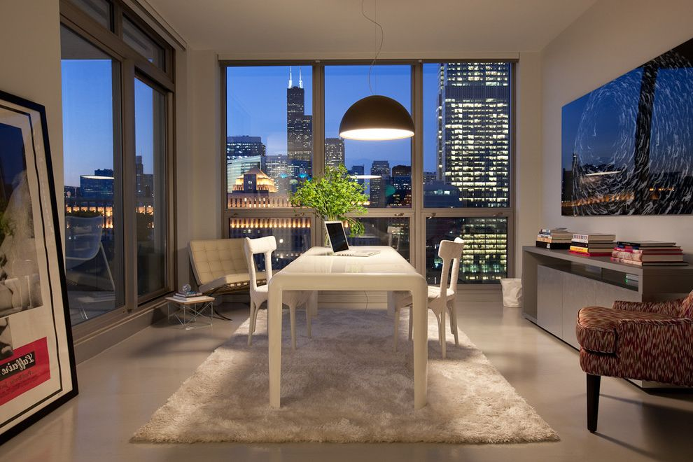 City Market at O Street   Modern Home Office Also Aluminum Windows Area Rug Arm Chairs Artwork City View Console Table Dining Table Pendant Light Slider Tall Windows Tile Floor White Molded Plastic
