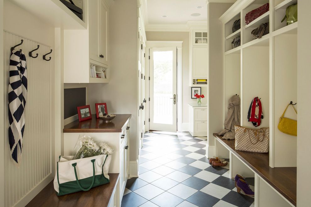 City Market at O Street   Transitional Entry  and Bench Black Ceramic Tile Floor Checkered Floors Closed Shelving Closed Storage Coat Hooks Cream Cubby Gray Hooks Mudroom Open Shelving Open Storage Transitional White