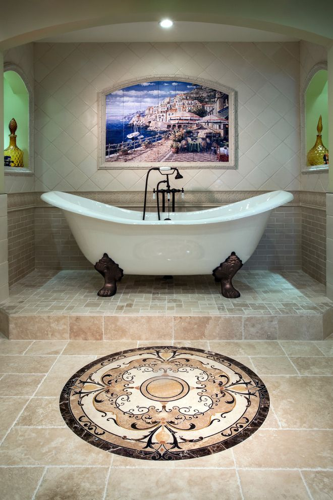 Clawfoot Tub for Sale   Traditional Bathroom Also Arch Wall Nook Beige Stone Wall Claw Foot Tub Clawfoot Tub Elevated Tub French Country Recessed Lighting Stone Floor Stone Floor Inlay Stone Mural Stone Wall Stone Wall Mural Traditional Design