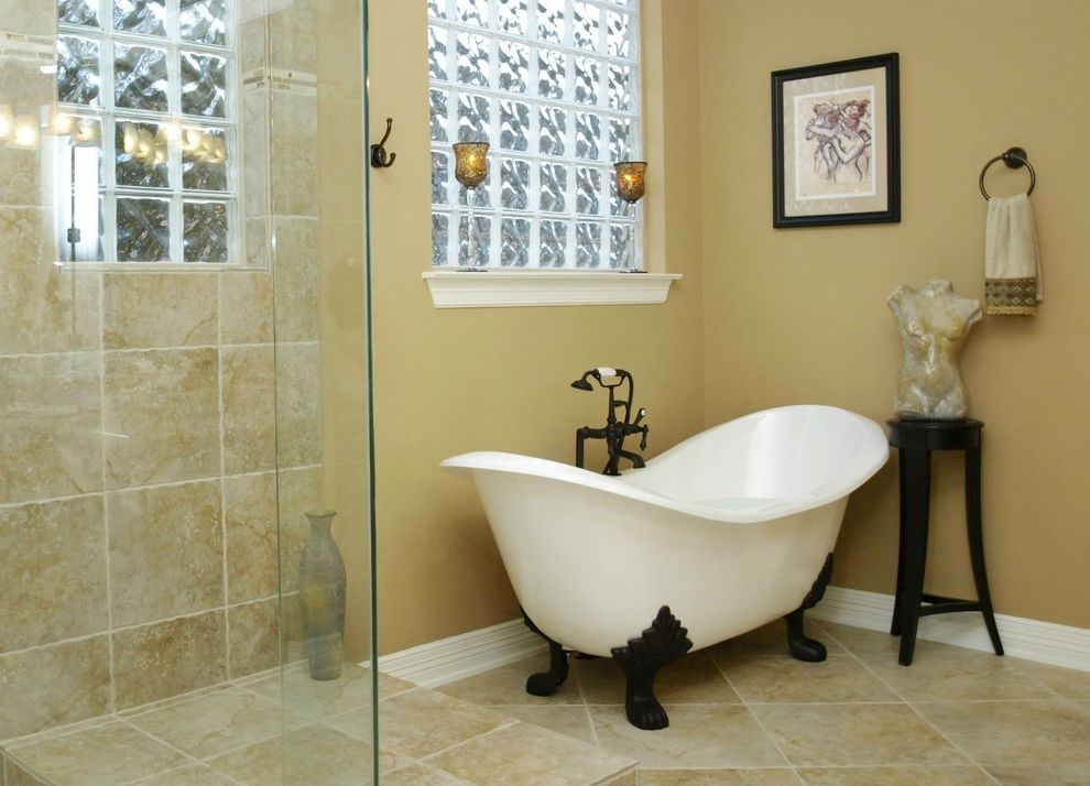 Clawfoot Tub for Sale with Traditional Bathroom Also Clawfoot Tub Frameless Shower Freestanding Tub Glass Blocks Glass Shower Tile Flooring Towel Racks Wall Art Wall Decor
