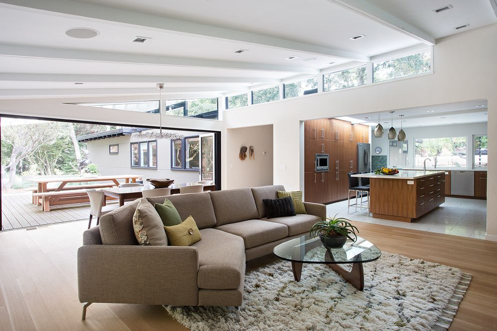 Clayton Homes Lafayette   Contemporary Family Room  and General Contractor Home Improvement Home Remodel Kasten Builders Living Room Ideas Marin County Open Space Seating Area Statement Lighting White Window Trim Wood Deck Wood Floors