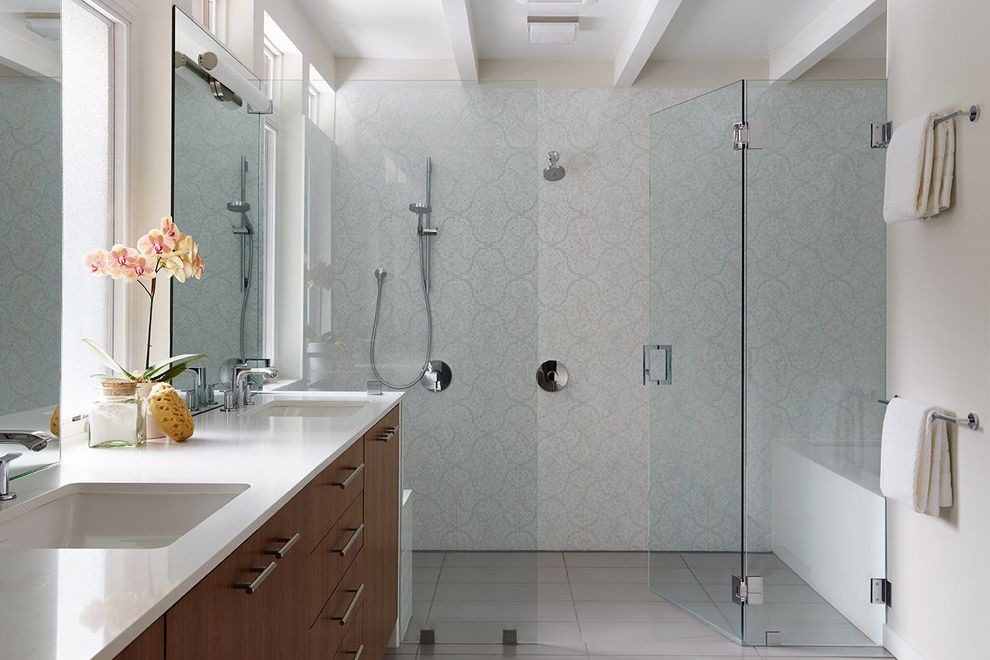 Clayton Homes Lafayette with Contemporary Bathroom  and Bathroom Ideas General Contractor Glass Shower Door Home Improvement Home Remodel Kasten Builders Marin County Open Space Statement Lighting Wood Floors