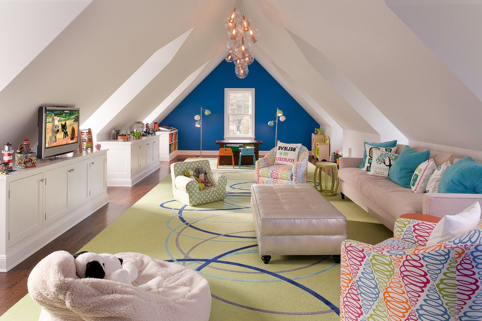 Clayton Homes Lafayette with Contemporary Kids  and Area Rug Attic Bean Bag Blue Accent Wall Blue Pillows Built in Built in Cabients Chandelier Colorful Custom Kids Room Kids Seating Play Spaces Play Table Playroom Toys Tufted Ottoman Tv Wood Floor