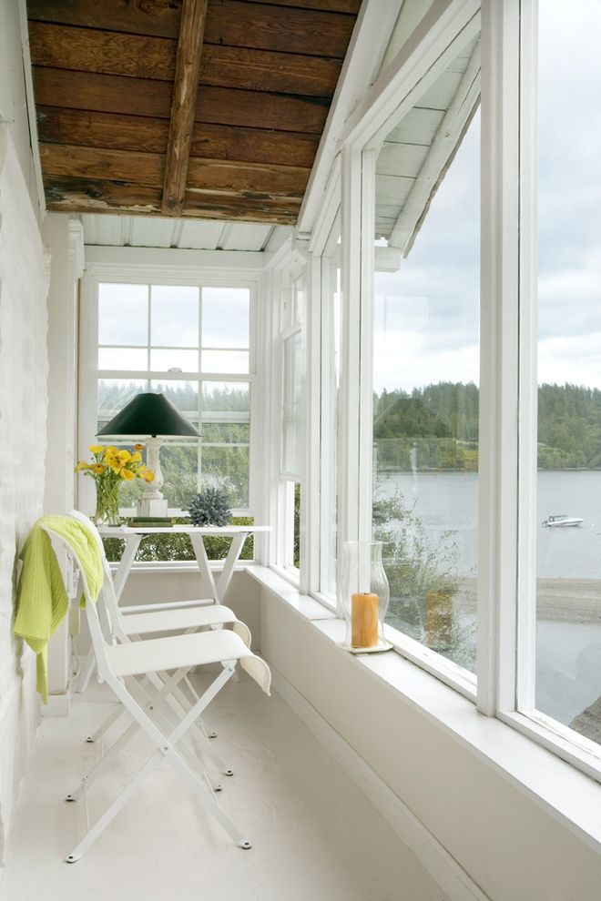 Clayton Homes Lafayette with Traditional Sunroom  and Alcove Enclosed Porch Nook Patio Furniture Sunroom View Waterfront White Wood Wood Ceiling Wood Trim