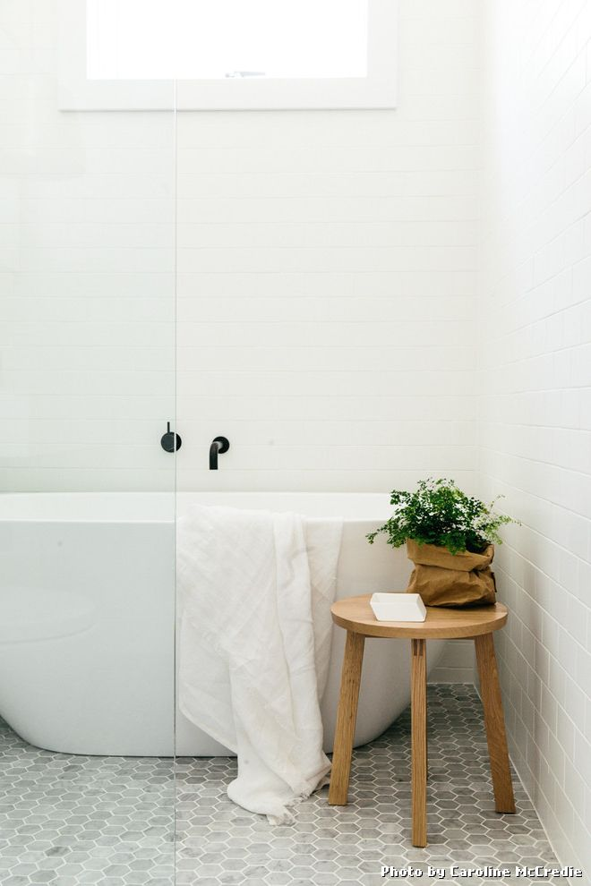 Cleaning Tile Floors with Vinegar with Scandinavian Bathroom and Hexagonal Floor Tile Hexagonal Tiles Towel Racks Stands White Bathroom