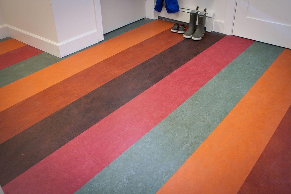 Click Together Vinyl Flooring with Contemporary Entry Also Boot Room Click Entrance Entry Fun Glueless Installation Green Marmoleum Mud Room Natural Linoleum Naturally Bacteriostatic Original Linoleum Rainbow Sustainable Waterproof