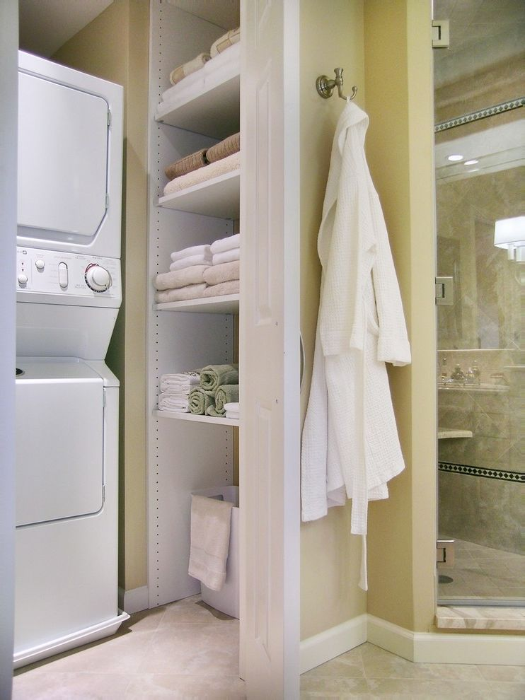 Closet Maid Shelving with Traditional Bathroom  and Beige Closet Glass Shower Door Linen Cupboard Robe Hook Shower Enclosure Stackable Washer Dryer Tile Floor