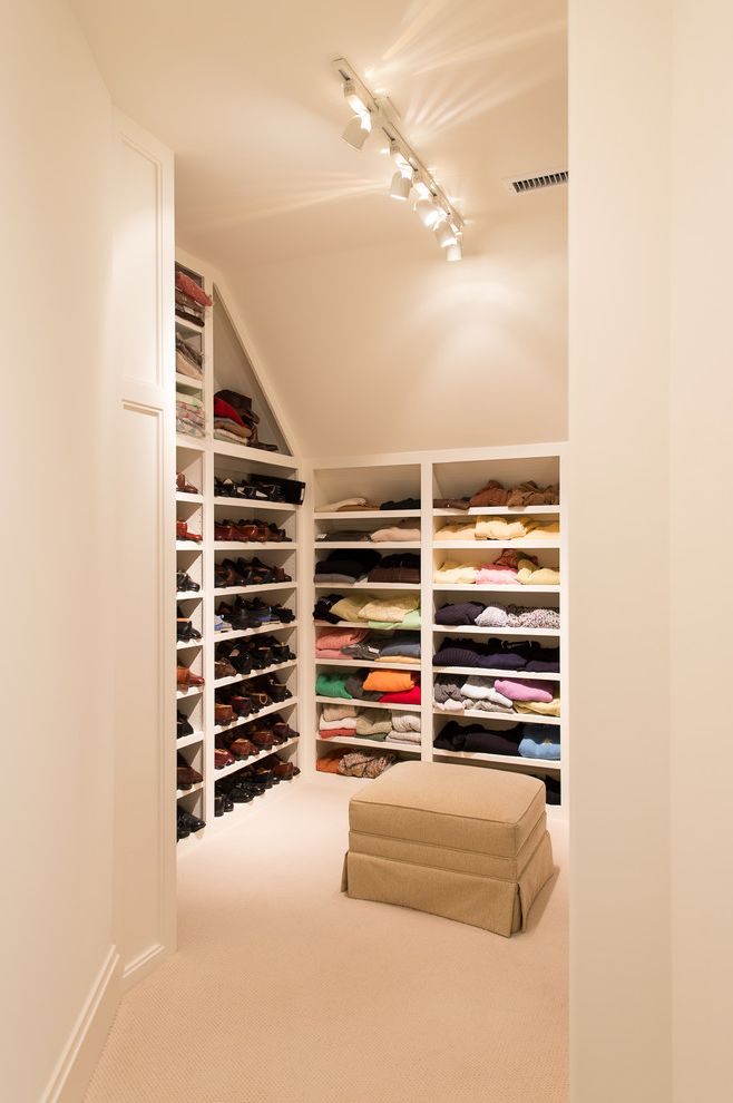 Closet Maid Shelving with Traditional Closet Also Baseboards Built in Shelves Built in Storage Ceiling Lighting Sloped Ceiling Track Lighting Walk in Closet