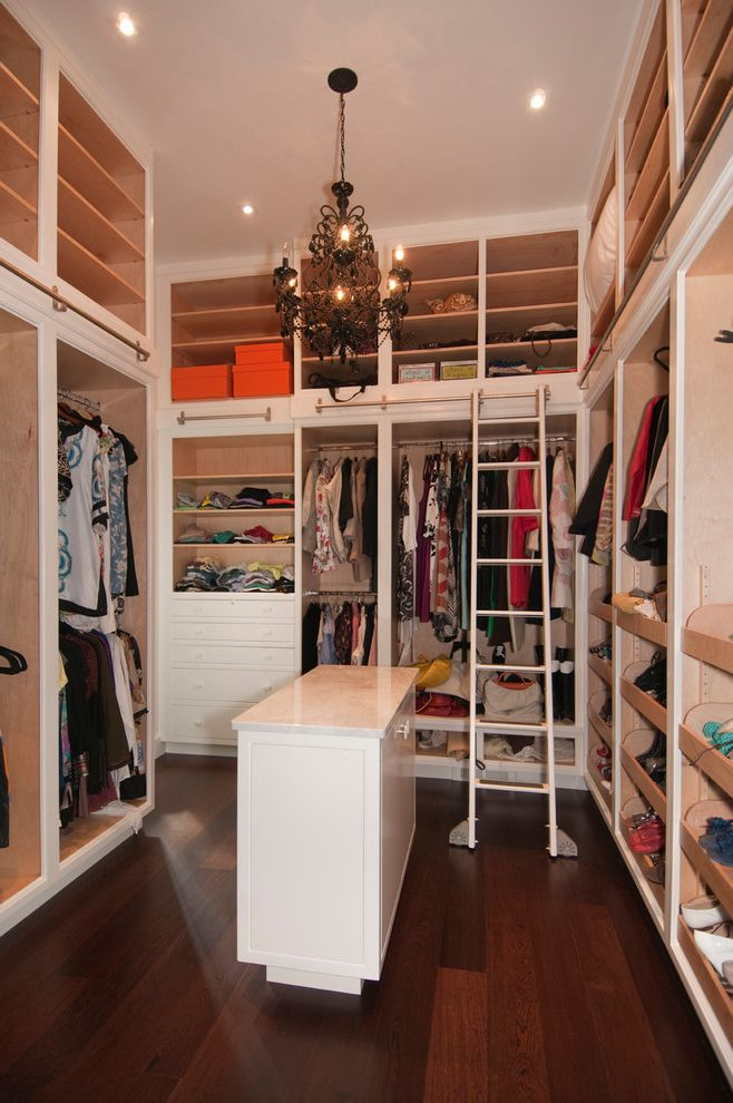 Closet Rod Height   Contemporary Closet  and Closet Cabinets Closet Chandelier Closet Island Closet Ladder Closet Organization Closet Storage Dark Wood Floor Library Ladder Master Closet Open Shelves Open Shelving Recessed Lighting