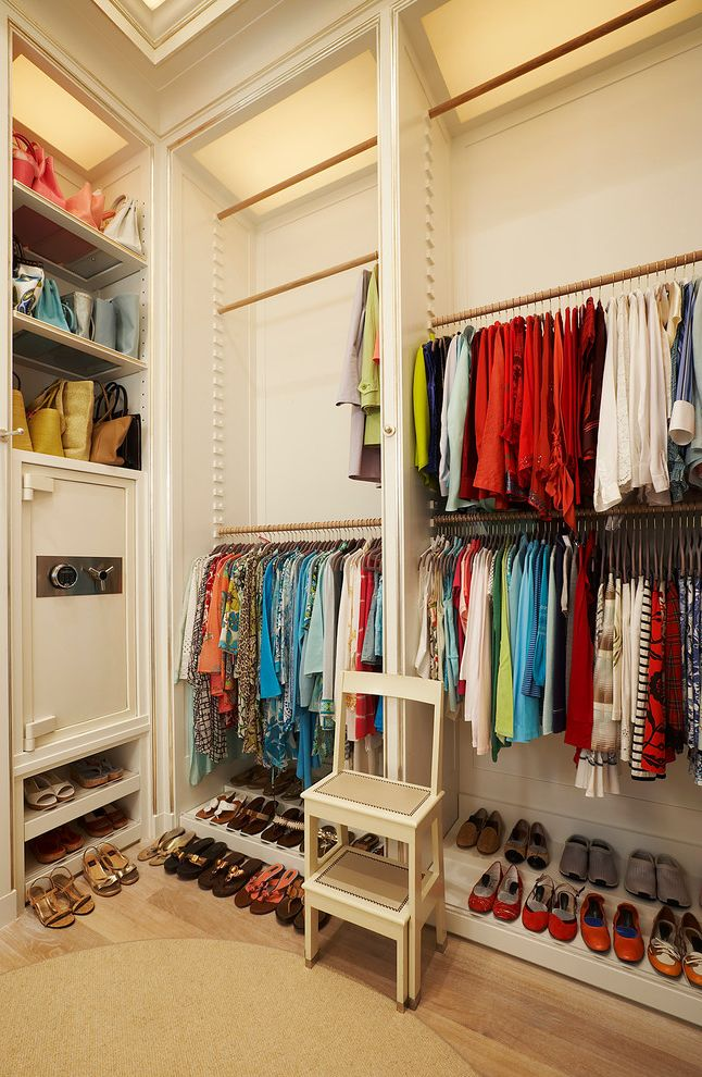 Closet Rod Height   Transitional Closet Also Built Ins Purse Storage Safe Shoe Storage Step Stools Wood Floors