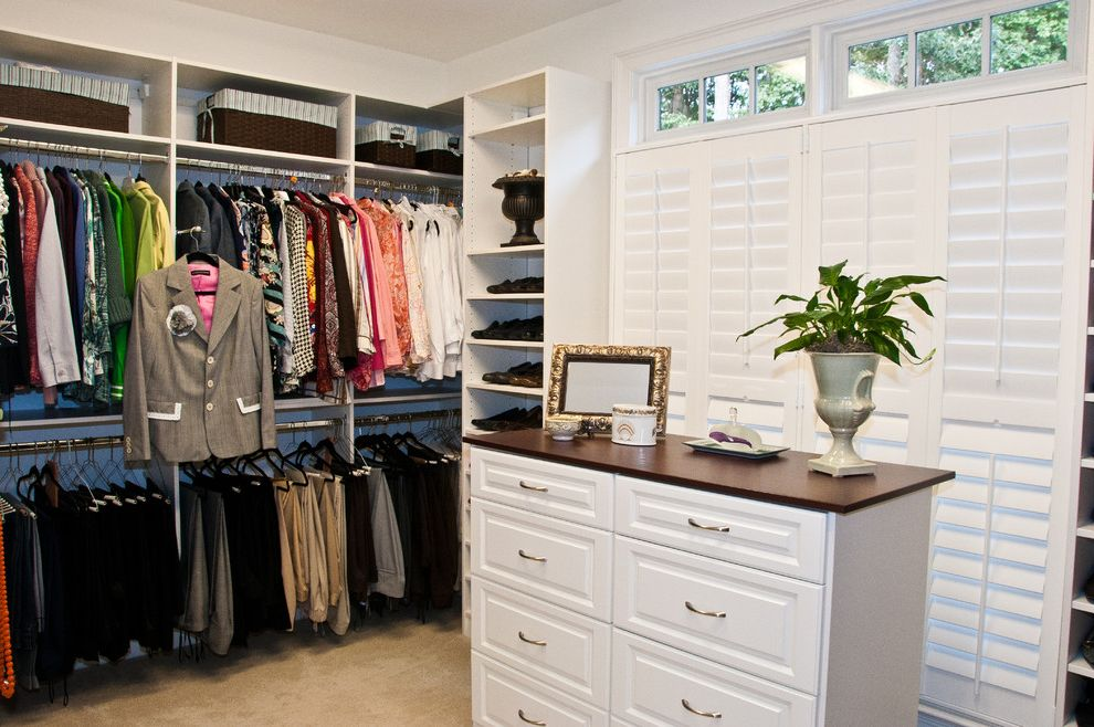 Closet Rod Height with Traditional Closet Also Bedroom Carpet Closets Clothes Rack Clothes Storage Custom Custom Closets Organizing White Blinds White Cabinets White Drawers White Plantation Shutters White Shelves White Wall Wicker Baskets
