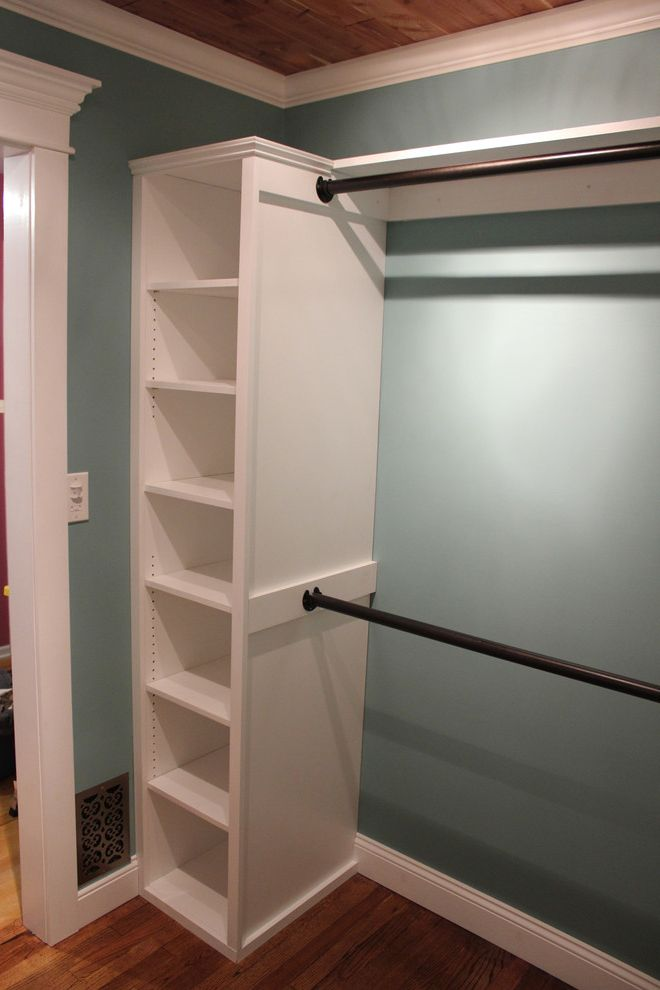 Closet Rod Height with Traditional Closet  and Closet Closet Hardware Shelving Wood Ceiling