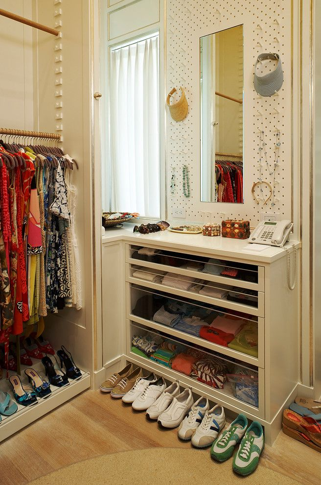 Closet Rod Height with Transitional Closet  and Built Ins Hat Rack Jewelry Racks Shoe Storage Storage Drawers Wood Floors