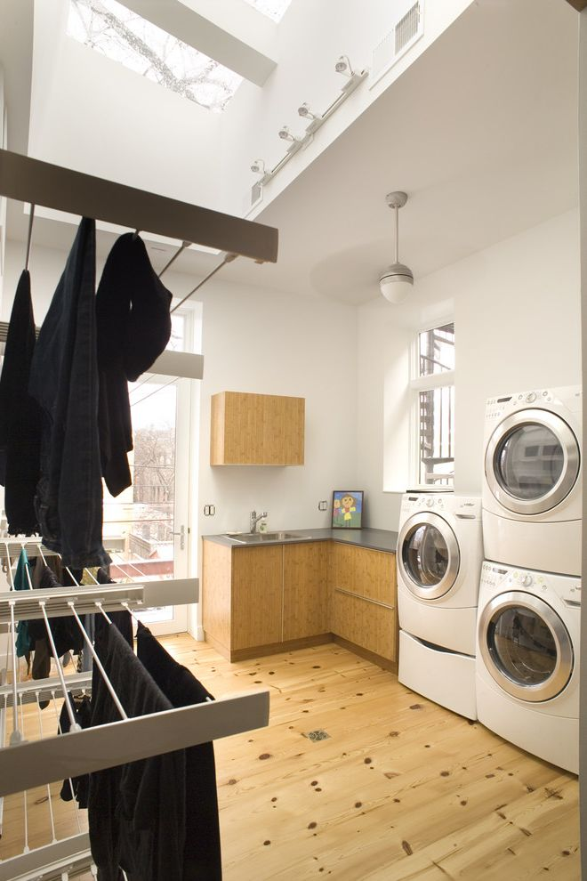 Clothes Dryers at Lowes   Contemporary Laundry Room Also Bamboo Ceiling Fan Clerestory Drying Rack Front Loading Washer and Dryer Hanging Clothes Rack Knotty Wood Loft Neutral Colors Stackable Washer and Dryer Stacked Washer and Dryer Wood Flooring