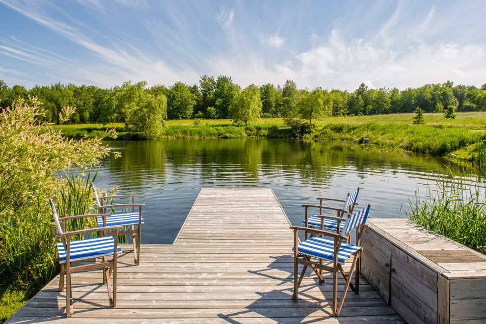 Clover Pools   Farmhouse Deck Also Blue and White Stripes Directors Chairs Dock Dock Platform Pond Pond Dock