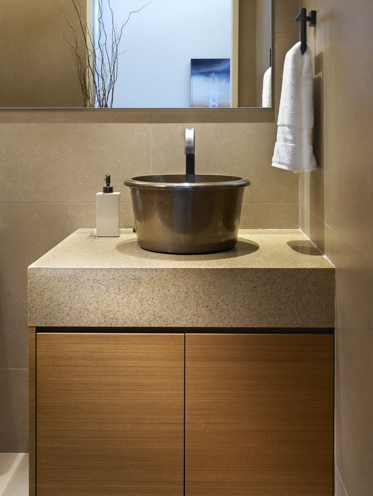 Coast to Coast Movers   Contemporary Powder Room Also Caesarstone Countertops Minimal Neutral Colors Tile Wall Towel Ring Vessel Sink Wood Cabinets