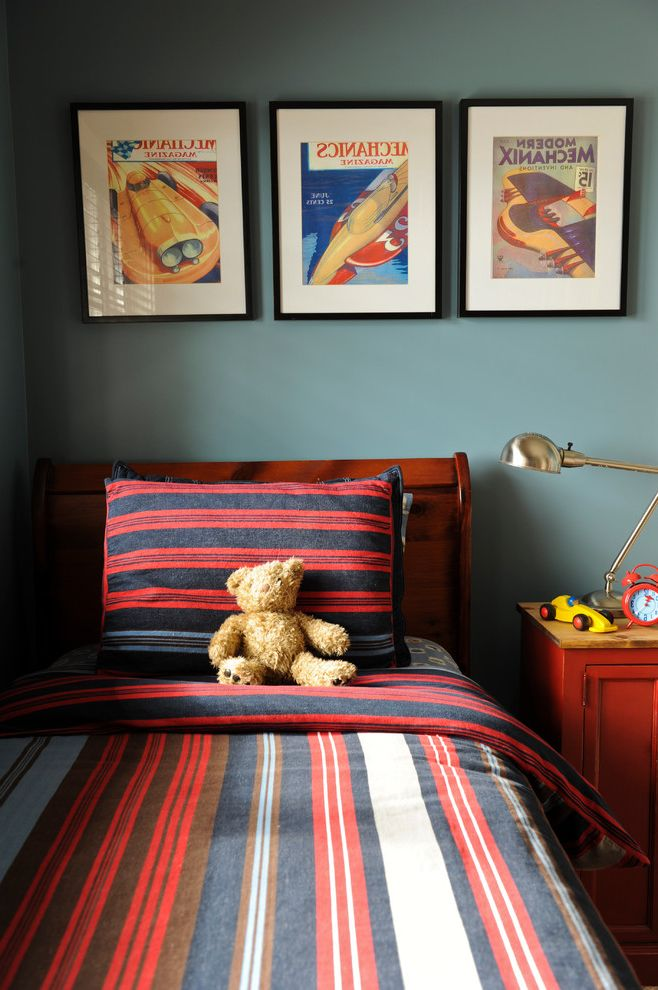 Coast to Coast Movers   Eclectic Kids  and Bedroom Bedside Table Boys Room Framed Art Headboard Kids Rooms Painted Walls Red Swing Arm Lamp West Coast Blue Wood Bed Frame