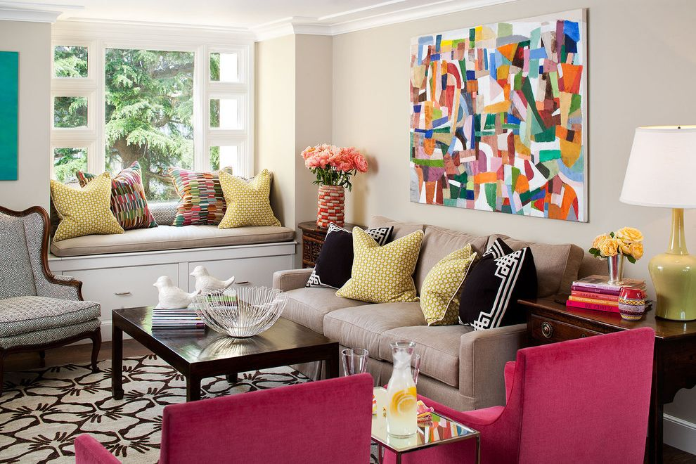 Color Palette Maker with Eclectic Family Room Also Artwork Bright Colors Chairs Coffee Table Lamp Pillows Pink Chairs Rug Side Table Table Lamps Throw Pillows Window Seating