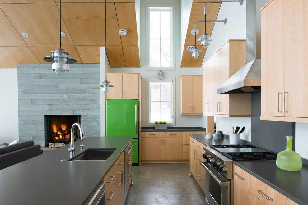 Colored Refrigerators For Contemporary Kitchen Also Green Fridge Light Wood Kitchen Lots Of Natural Light Pendant Lights Sloped Ceilings Tall Ceilings Utensil Holder Vent Hood Wall Sconces Windows Finefurnished Com