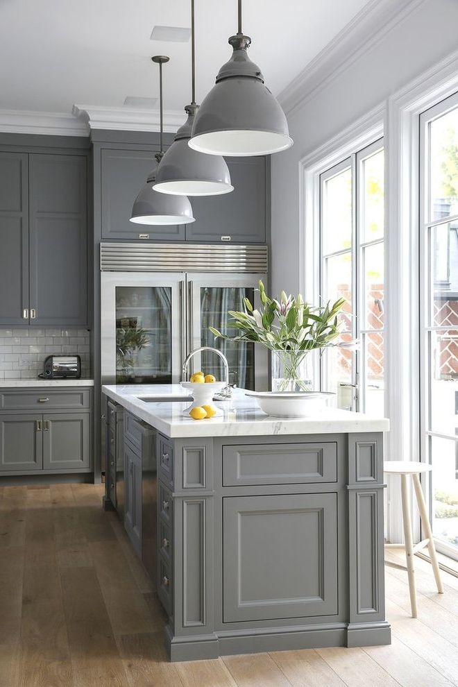 Colored Refrigerators with Transitional Kitchen  and Casual Elegance Glass Panel Fridge Gray Grey Large Windows Pendant Lights