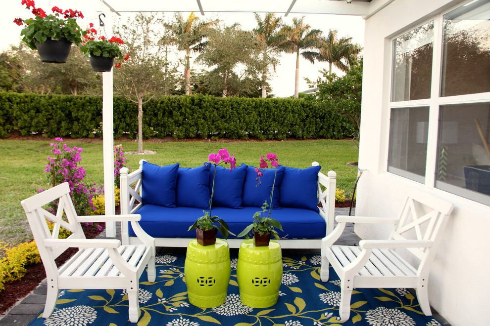 Colors on White Key West with Beach Style Patio and Ceramic Garden Stools Chartreuse Green Stools Hanging Baskets Orchid Outdoor Area Rug Outdoor Patio Furniture Outdoor Sofa Patio Furniture White Outdoor Furniture