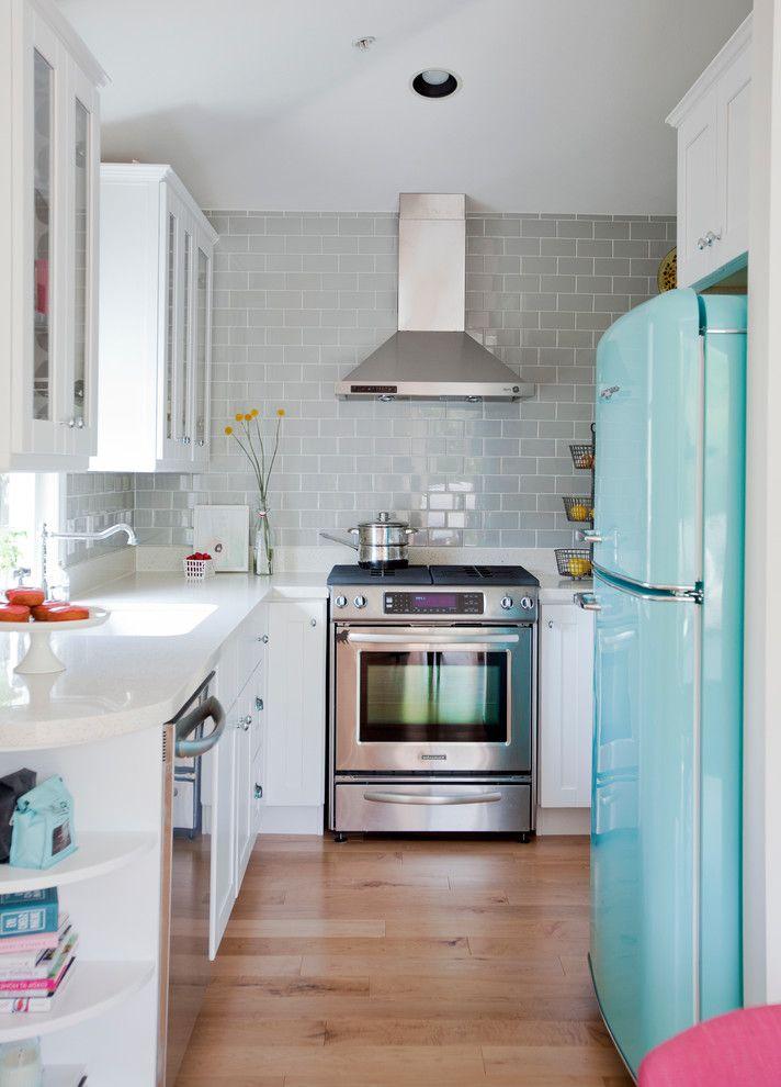Coloured Fridges   Eclectic Kitchen Also Range Hood Retro Fridge Small Kitchen Turquoise Refrigerator Wood Floors