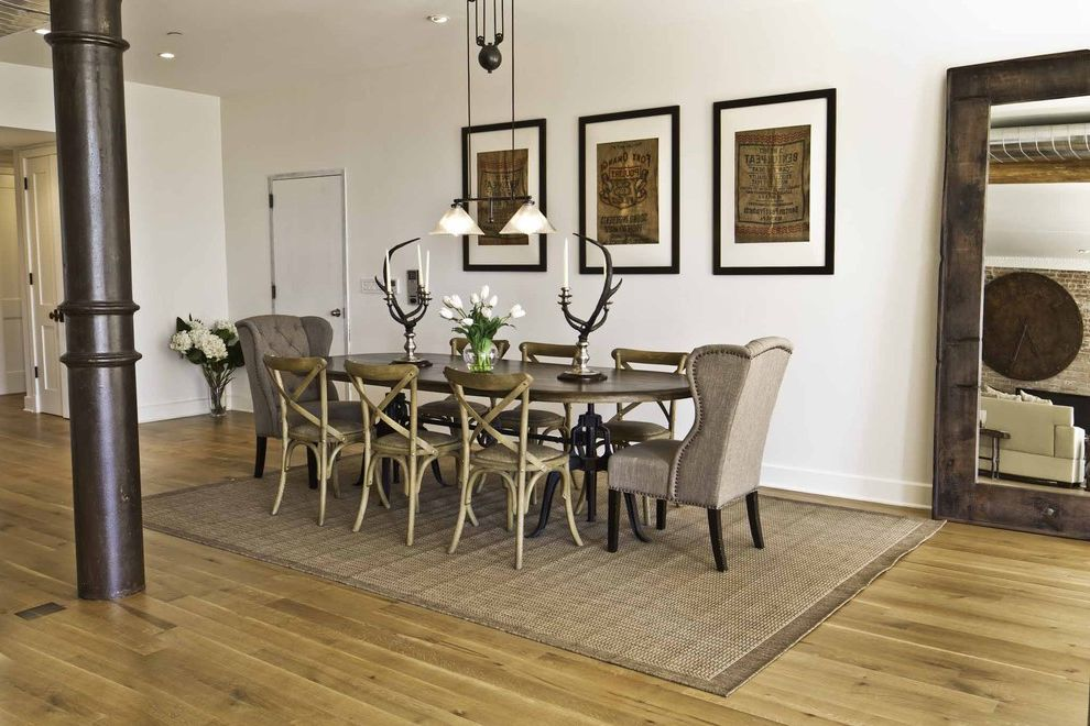 Comfy Sack   Industrial Dining Room Also Antique Antler Candleholders Exposed Pipe Floor Mirror Industrial Light Wood Floor Mixed Dining Chairs Oak Chair Pulley Pendant Light Sisal Rug Tufting Dining Chairs Wood Dining Chairs Wood Dining Table