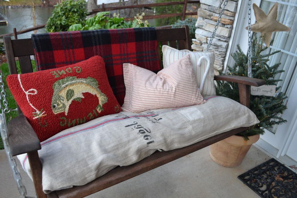 Comfy Sack with Eclectic Porch  and Door Mat Grain Sack Holiday Needle Point Pilows Porch Swing Stacked Stone Wool Blanket