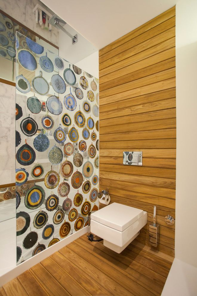 Commercial Grade Toilets with Contemporary Bathroom  and Decking Ornaments Rain Showerhead Small Bathroom Unique Shower Partition Wood Floors Wood Paneling