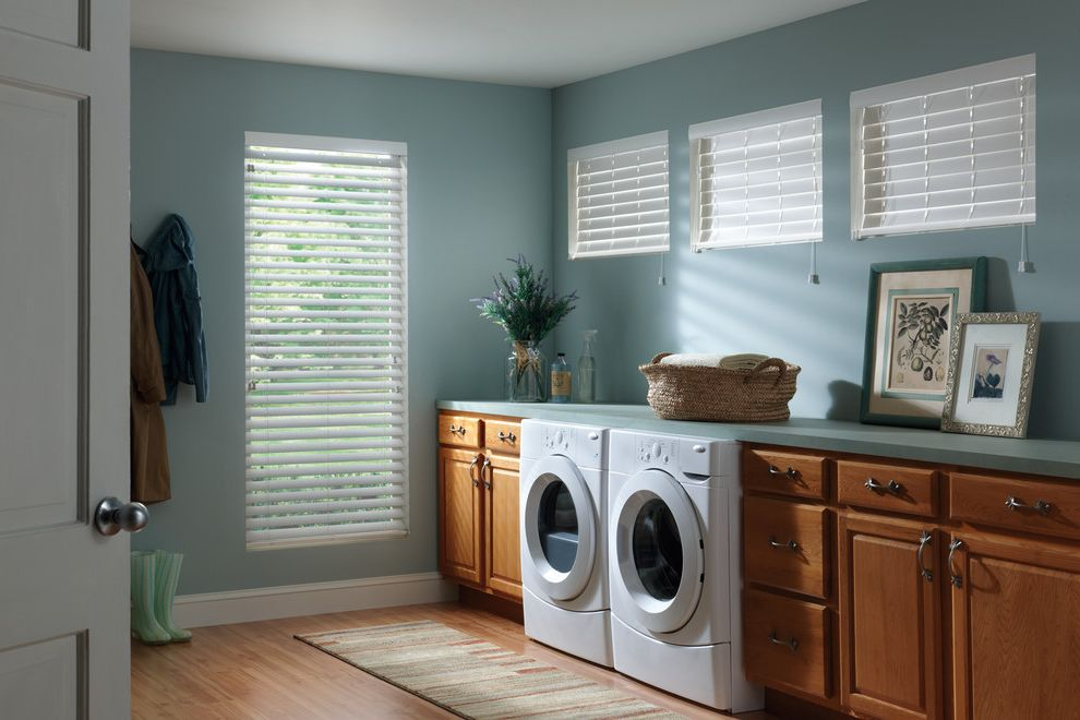 Commercial Grade Washing Machine   Traditional Laundry Room  and Blinds Blue Walls Drapes Drawer Sotrage Dryer Faux Wood Blinds Roman Shades Shutter Shades Washer Washer and Dryer Window Coverings Window Treatments Wood Blinds